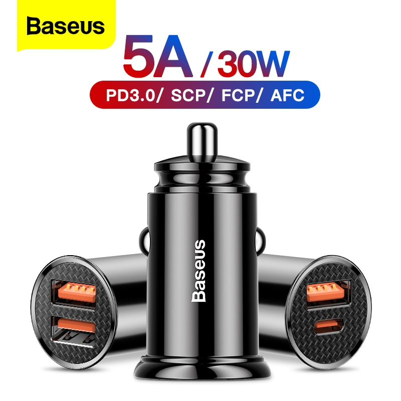 Baseus 30W Quick Charge 4.0 3.0 USB Car Charger For Xiao Mi9 Huawei Supercharge SCP QC4.0 QC3.0 Fast