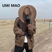 UMI MAO Dark Wind Men\'s Jacket Men Tooling Lapel Jacket Lovers Wild Loose Casual Mens Leather Tide Chaqueta Moto Hombre Y2K