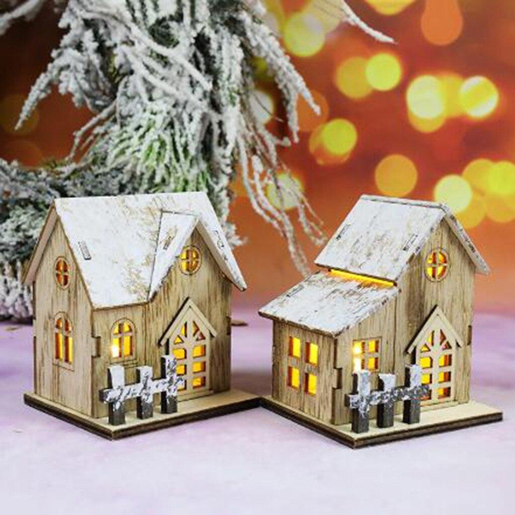 Maison en bois décor mural avec lumière Mini LED maison en bois fête de noël mur porte décor arbre de noël suspendus ornements #25