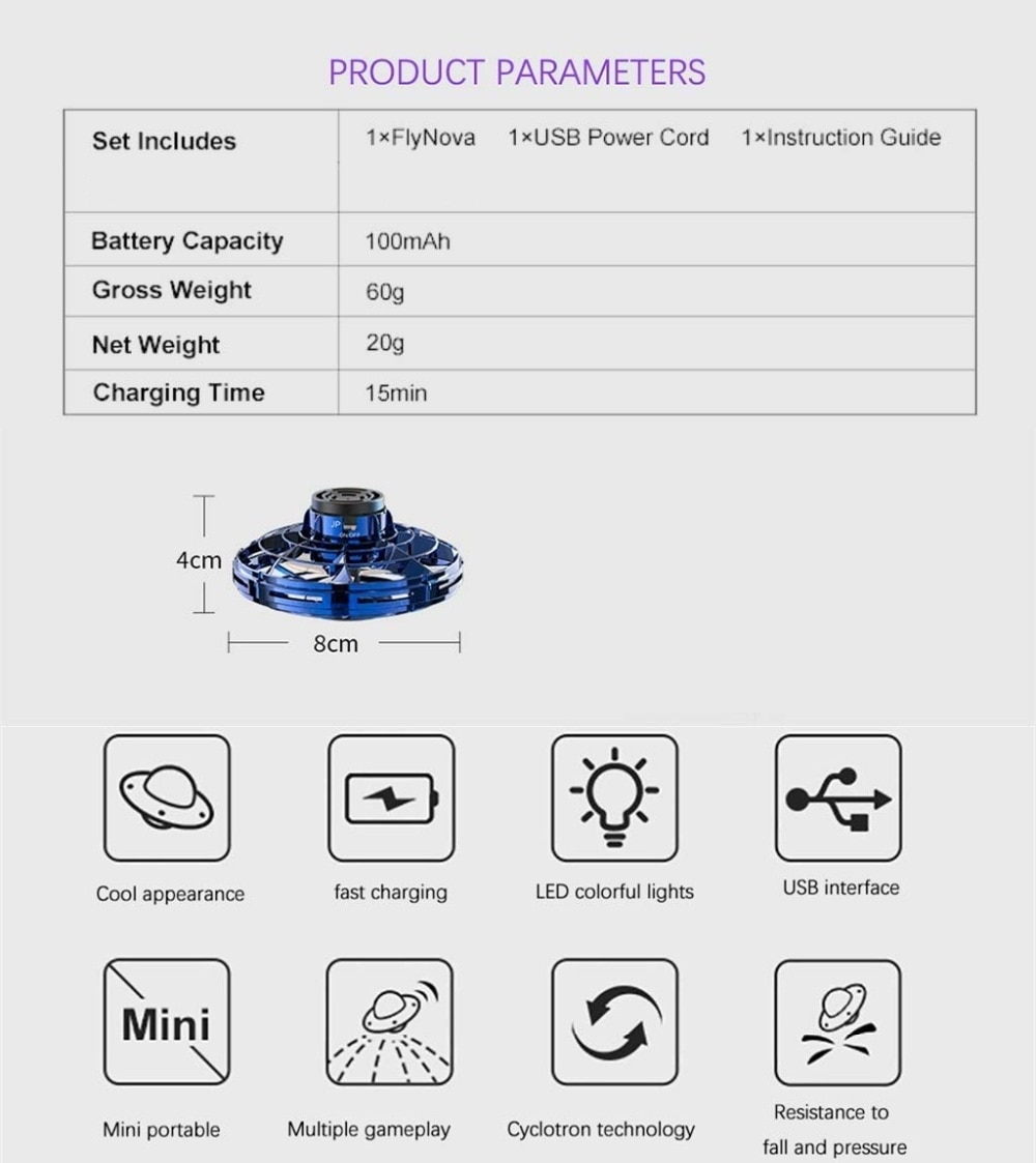 Athletic game toy antistress hand mini flying Gyro rotator drone UFO led fidget finger spinner Route Rotary child gift enlarge