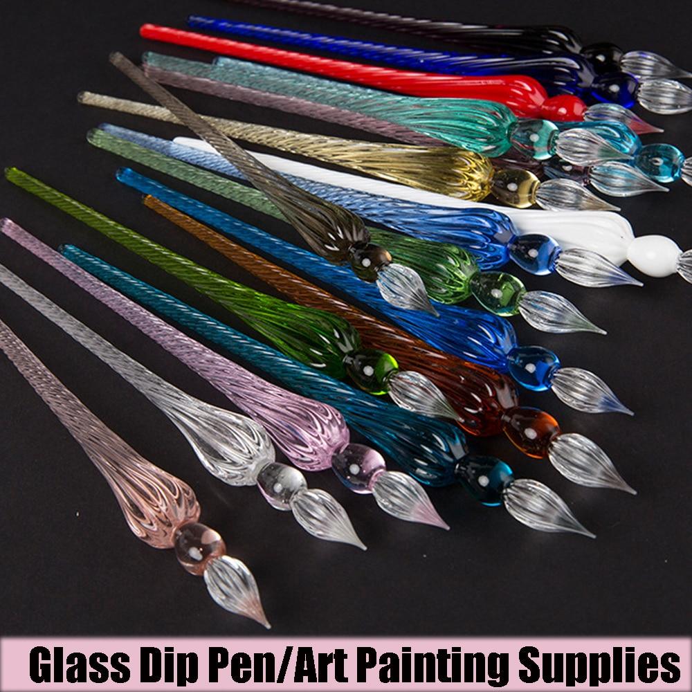 Высокое качество, подарки, винтажная Стеклянная Ручка для погружения, инструмент для письма, стеклянная ручка для капельного фонтана, авторучка для наполнения чернил, авторучки