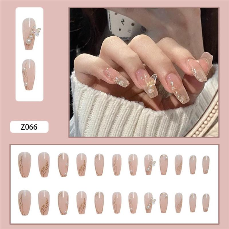 Detachable Pearl Fake Nails Stickers Icy Butterfly Nail Art Sticker Women And Girls DIY Manicure Too
