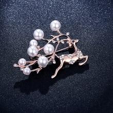 Elk femmes broche broche perle cristal renne broche animal noël bijoux manteau pull accessoires cadeau unisexe ornement Direct