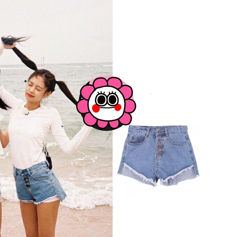 Kpop Blackpink JENNIE misma ropa de calle Harajuku sexy shorts mujeres 2020 verano coreano casual alta cintura pantalones cortos chica dulce ropa