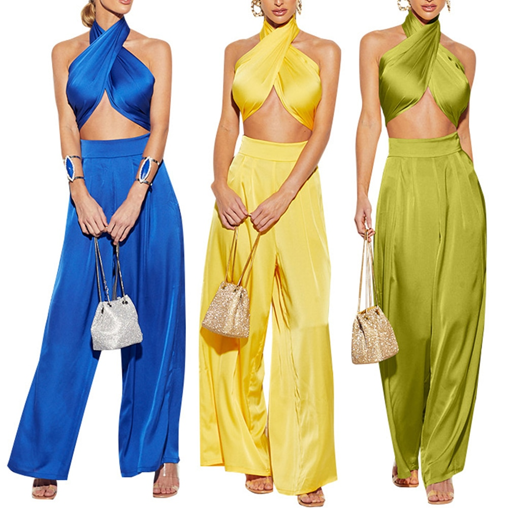 Женский комплект из двух предметов: Топ без рукавов и длинные штаны с открытой спиной, элегантные вечерние комплекты уличной одежды