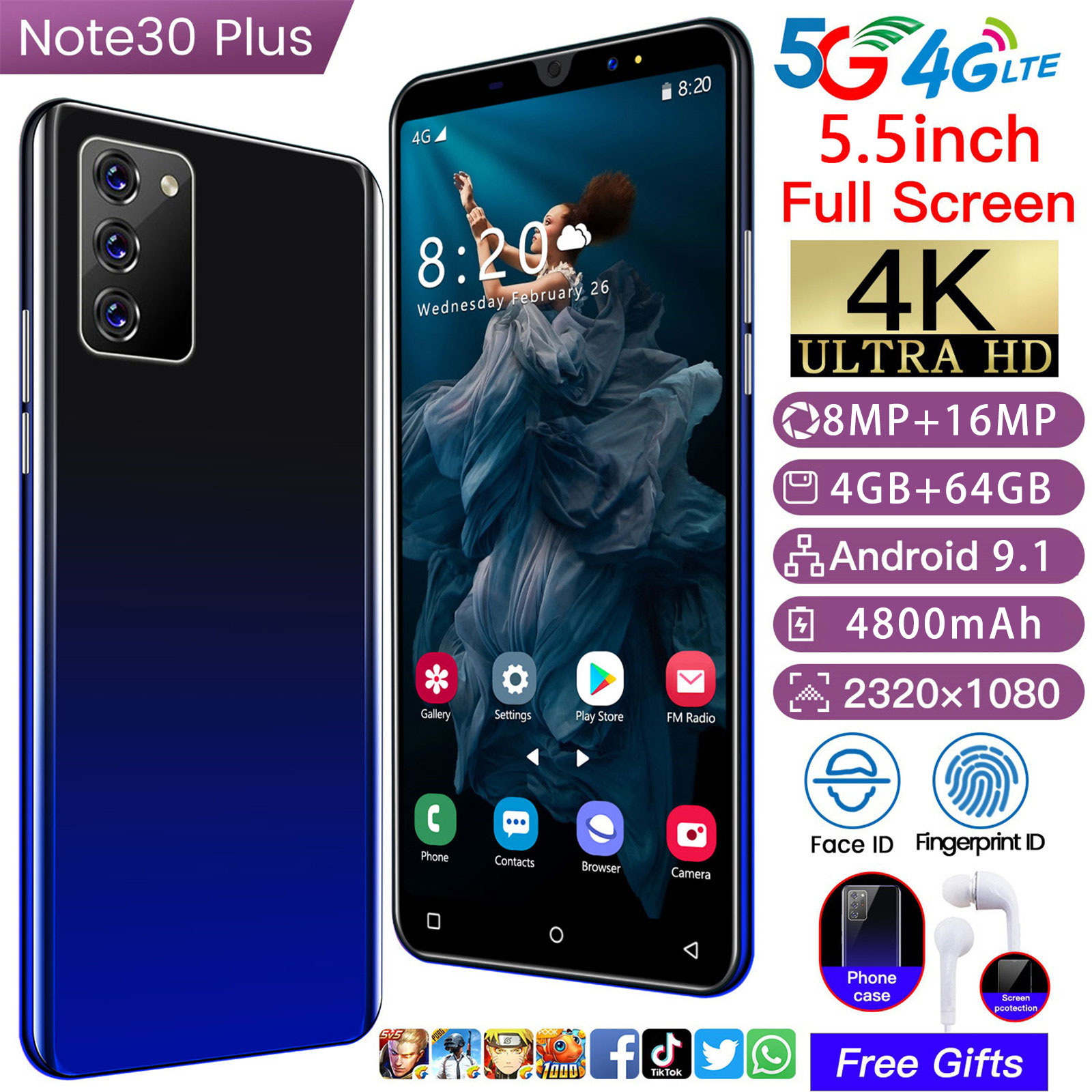 New Arrival Note 30 Plus 5.5 Inch Smartphone 2021 Global Version 4+64 G 8+16 MP Android 9.1 4800 MAH  5G Face ID Fringerprint ID