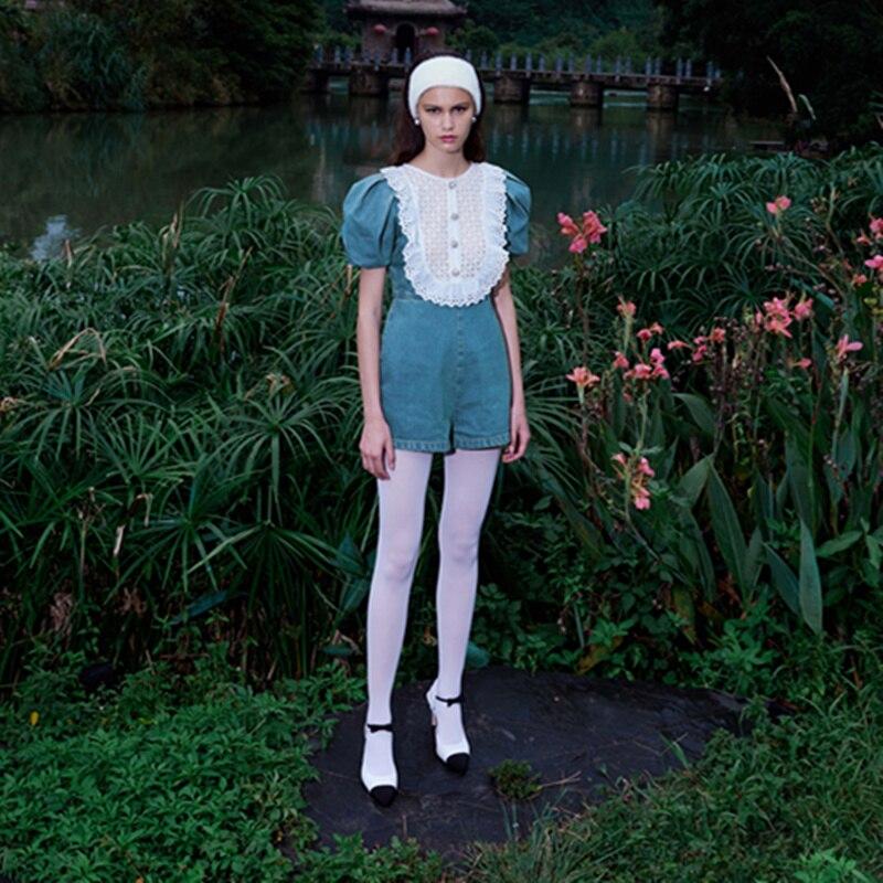 Women Denim Jumpsuit 2021 Summer Cutout Ruffles Lace Patchwork Short Sleeve Slim Jeans Playsuit Streetwear Short Romper OVeralls