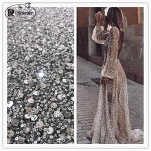 Tissu en dentelle de perles et paillettes, robe de soirée de luxe en dentelle française, 2 modèles, choix entre blanc cassé, RS2798, nouvelle collection 2020
