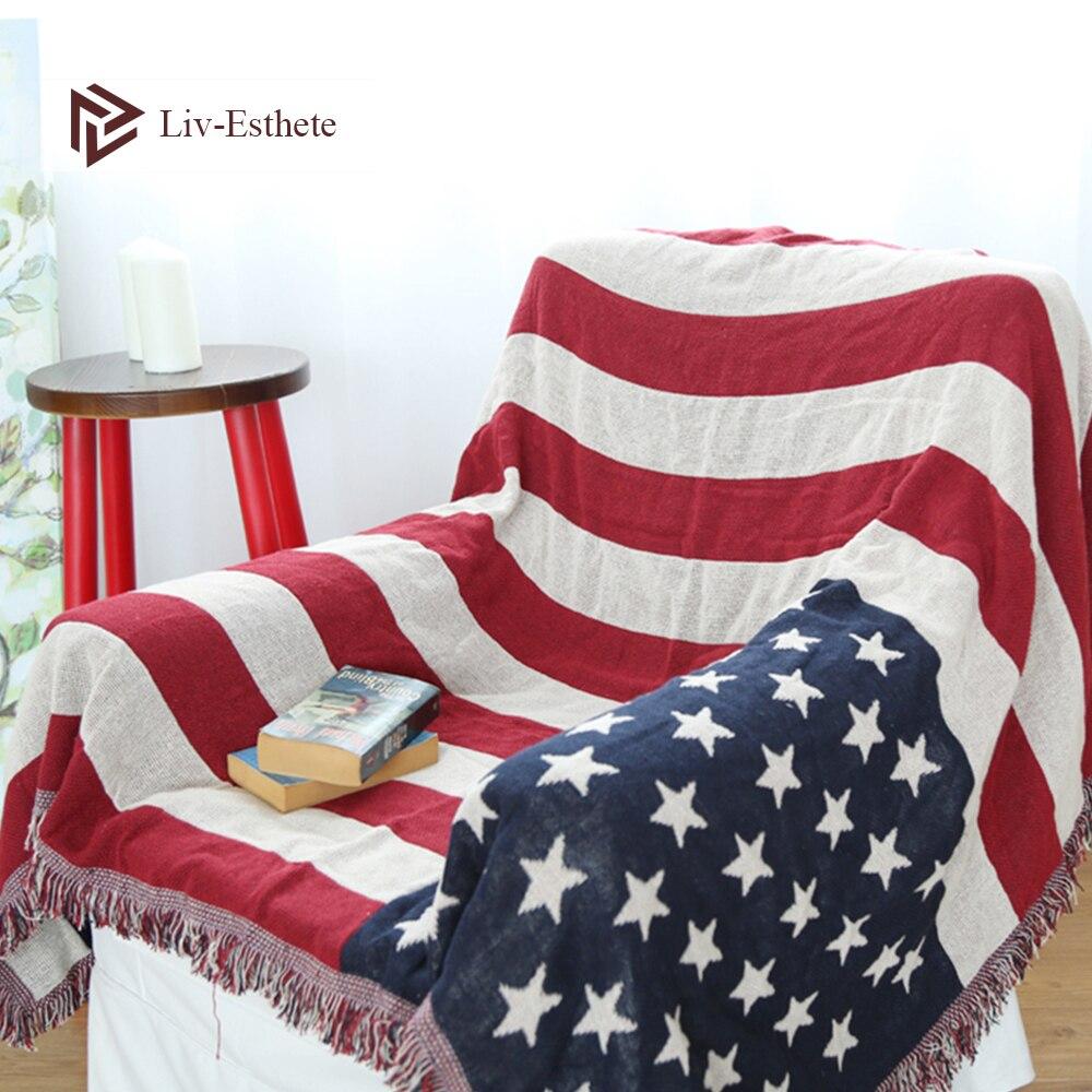 Live-esthete moda bandera americana manta tiro borla manta para sofá cama adulto saco de dormir abrigo manta tejida mejor regalo