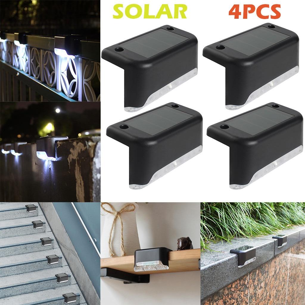 4PCS Outdoor Stainless Steel Solar Path Stair Light Waterproof LED Solar Deck Lights Balcony Garden Yard Fence Solar Lights