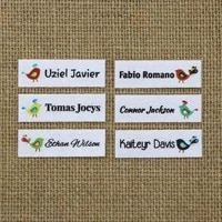 120 piece custom ironing labels personalized brand logo or text clothing labels custom printed fabric label yt070