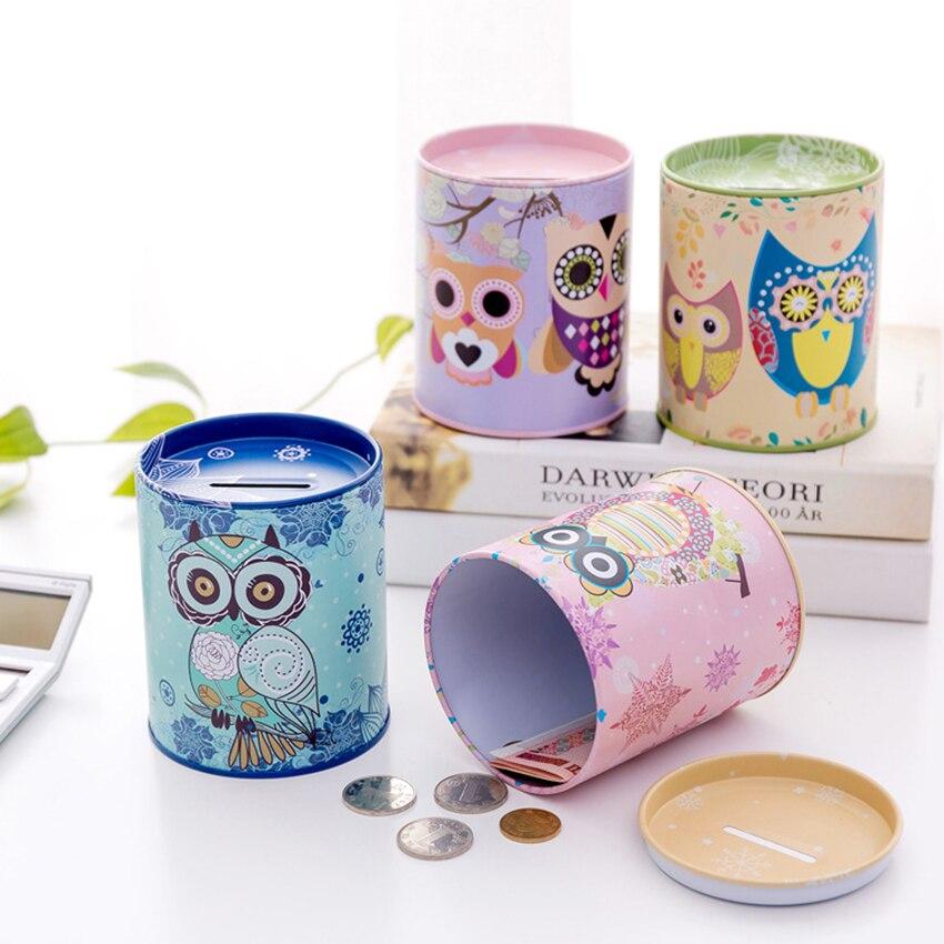 Hucha con forma de búho de dibujos animados, decoración de escritorio, hojalata, hucha para ahorro de monedas, contenedor de almacenamiento en efectivo, regalos para niños y niñas