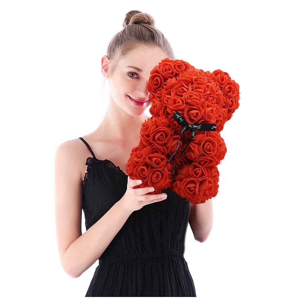 2021 هدية عيد الحب 25 سنتيمتر دمية دب الورد زهرة الديكور الاصطناعي عيد الميلاد هدية المرأة عيد الحب هدية لصديقة