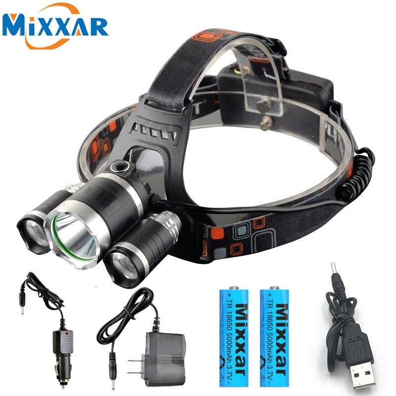 Dropshipping T6+2*R5 LED Headlamp waterproof Head Lamp Light 4-mode  +2x18650 battery+EU/US Car charger fishing headlight Torch