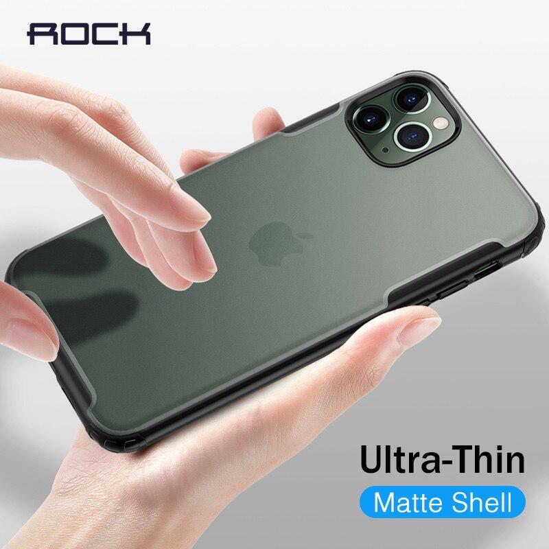 Rock funda de teléfono de lujo para iPhone 11 Pro caso silicona transparente cubierta transparente para iPhone XR XS Max 7 8 Plus caso mate Coque