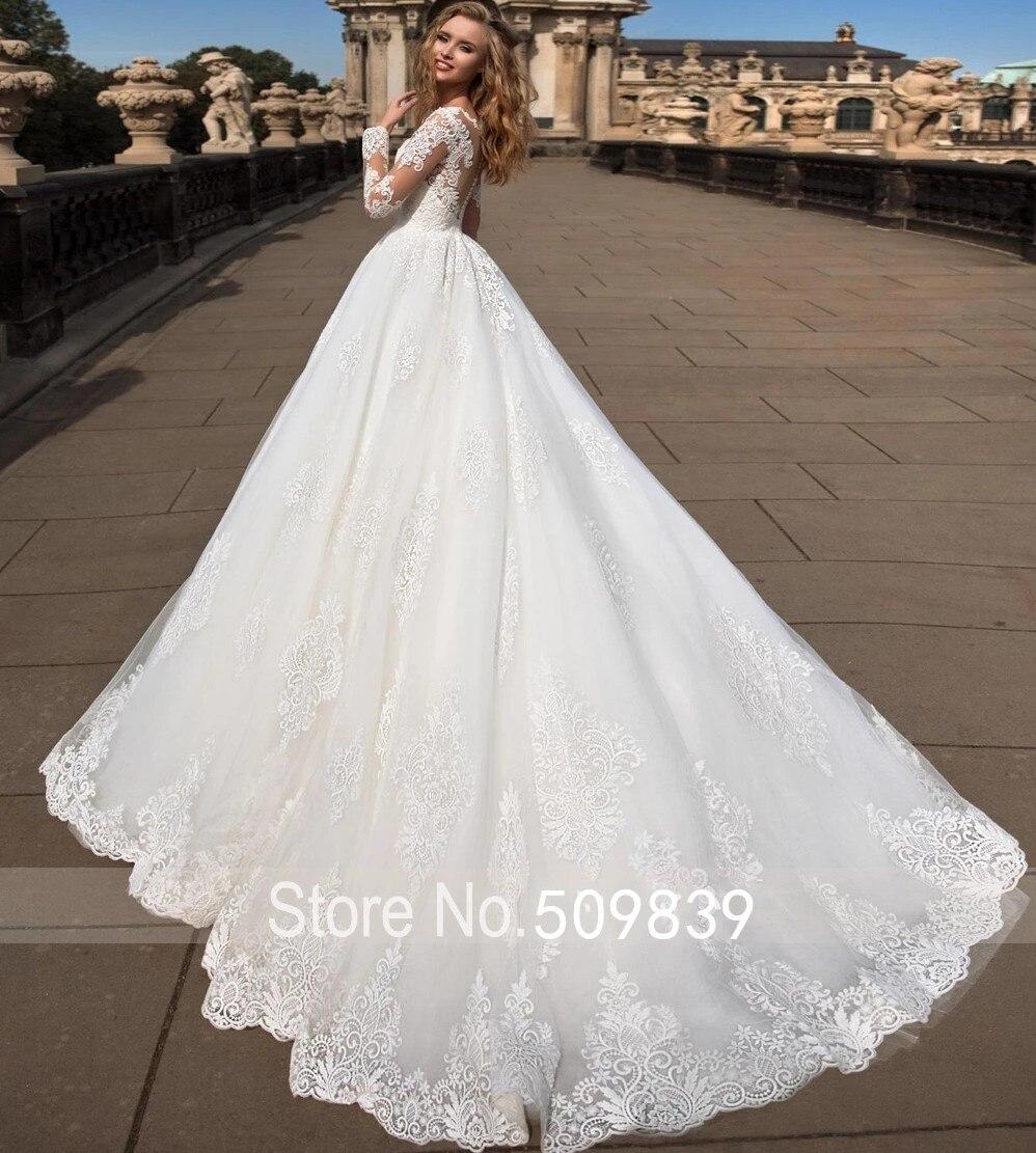 Vestido de noiva Scoop Ball Gown Long Sleeves Wedding Dresses Lace Appliques Chapel Train Bride Vintage Bridal Gown