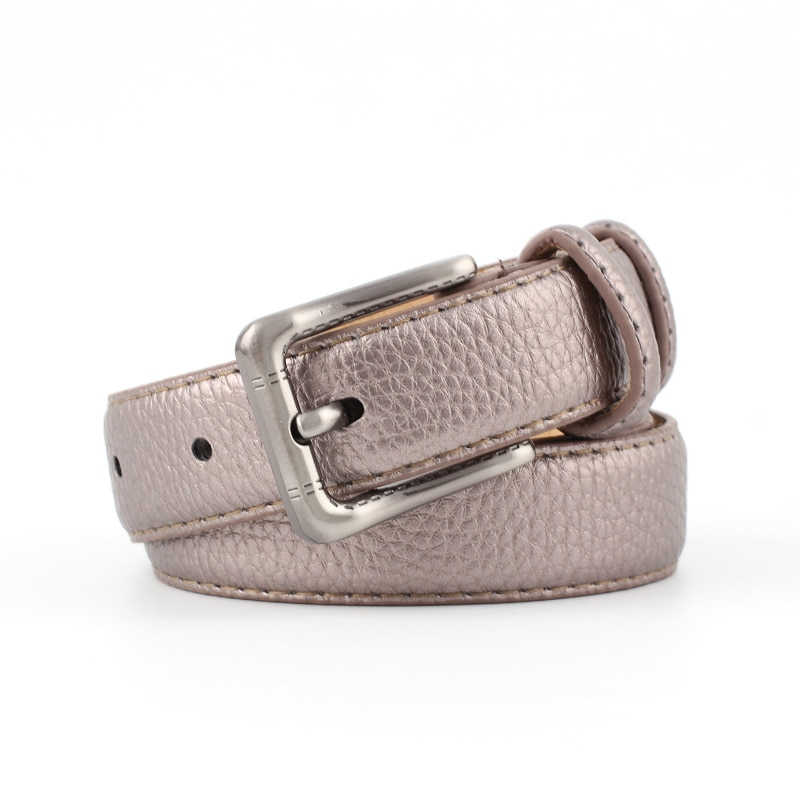 New silver alloy buckle with stone pattern leather belt, ladies' decoration, fashionable and versatile multi-color trouser belt fashionable rhombic pattern buckle faux leather belt for men