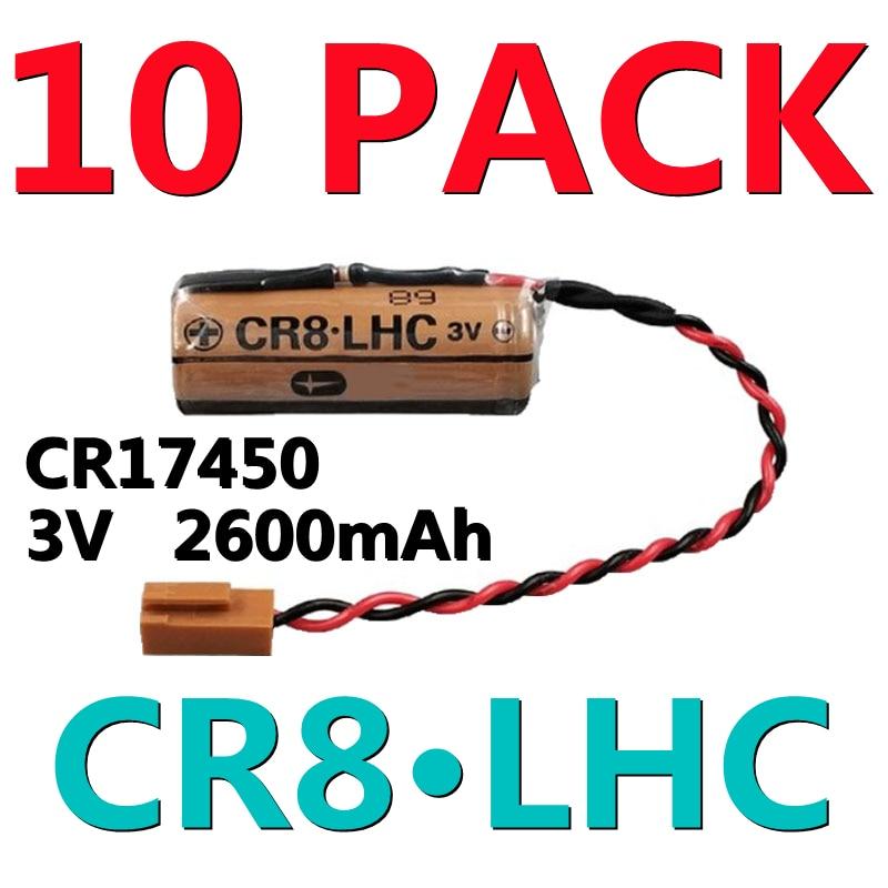 10 × CR8.LHC عدادات مياه الكهرباء إنذار الحريق البطارية ل فوجي FDK CR8 LHC CR17450 3 فولت بطارية ليثيوم مع موصل البني