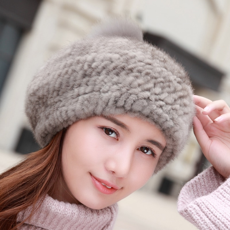 Lantafe Winter Hat Woman's Hat Mink Fur Hats Natural Color With Real Fox Fur Ball Weaving Craft Winter Warm Ear Protection