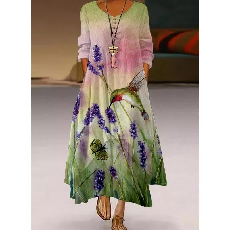 فستان ماكسي صيفي أنيق لعام 2021 فستان نسائي صيفي مطبوع بأكمام قصيرة غير رسمي فساتين نسائية عالية الخصر فستان نسائي ميدي