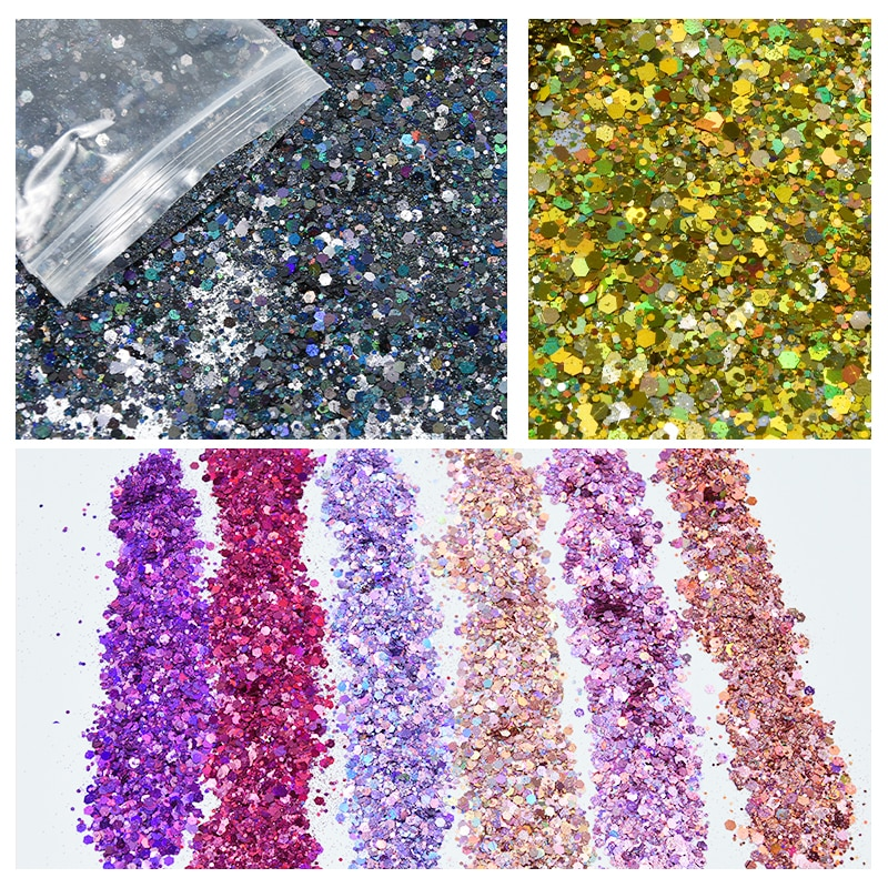 100 g/saco Holográfica Pó Da Arte Do Prego Mista-Hexágono Sequin Holo Chunky Solto Misturado Ultra-fino Pó Diy Nail Glitter Pó x1pc