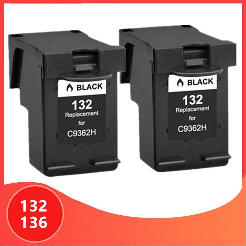 PEÇAS cartucho de tinta Preta para hp 132 136 2 Para photosmart 2573 C3183 HP132 Para HP136 1513 IMPRESSORA OFFICEJET 6213 5443 D4163 pcs1513