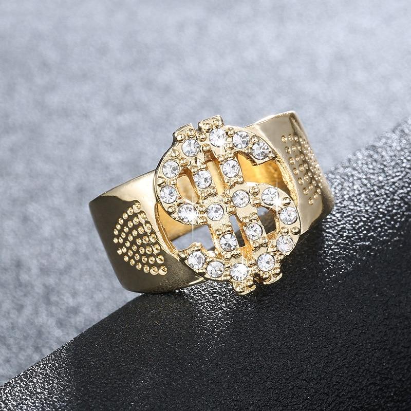Men's gift ring jewelry 7 8 9 10 11 12 size hip hop Rock US Dollar Sign Hollow Rings men's fashion ring free shipping