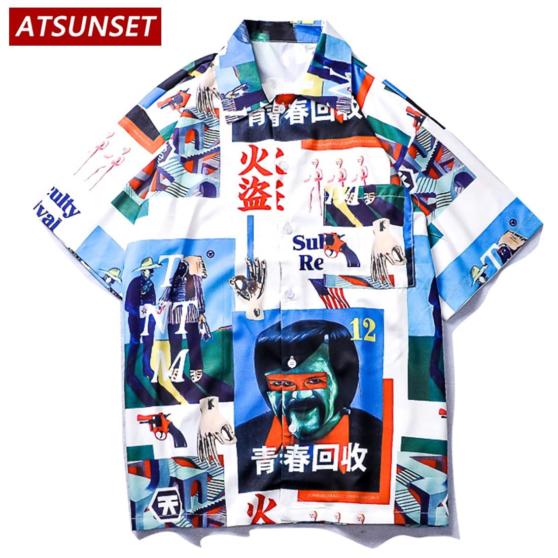 ATSUNSET, китайский элемент, молодежная переработанная рубашка с принтом, гавайская уличная одежда, рубашка с коротким рукавом, хлопковые Модны...