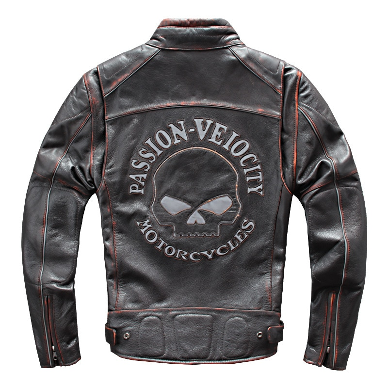 2020 Vintage Men's 100% Genuine Leather Jacket Reflective Skull Embroidery Motorcycle Jackets Real Cowhide Biker Coat for Male