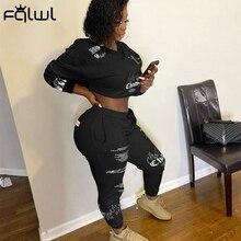 FQLWL Herbst Streetwear Graffiti Langarm Crop Top 2 Zwei Stück Set Frauen Sweatsuit Elastische Outfits Damen Trainingsanzug Weibliche