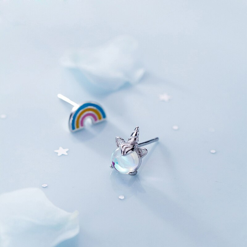 New Fashion Silver Lucky Unicorn Stud Earings 925 Asymmetry Moonstone Rainbow Personality Earring For Girl Jewelry