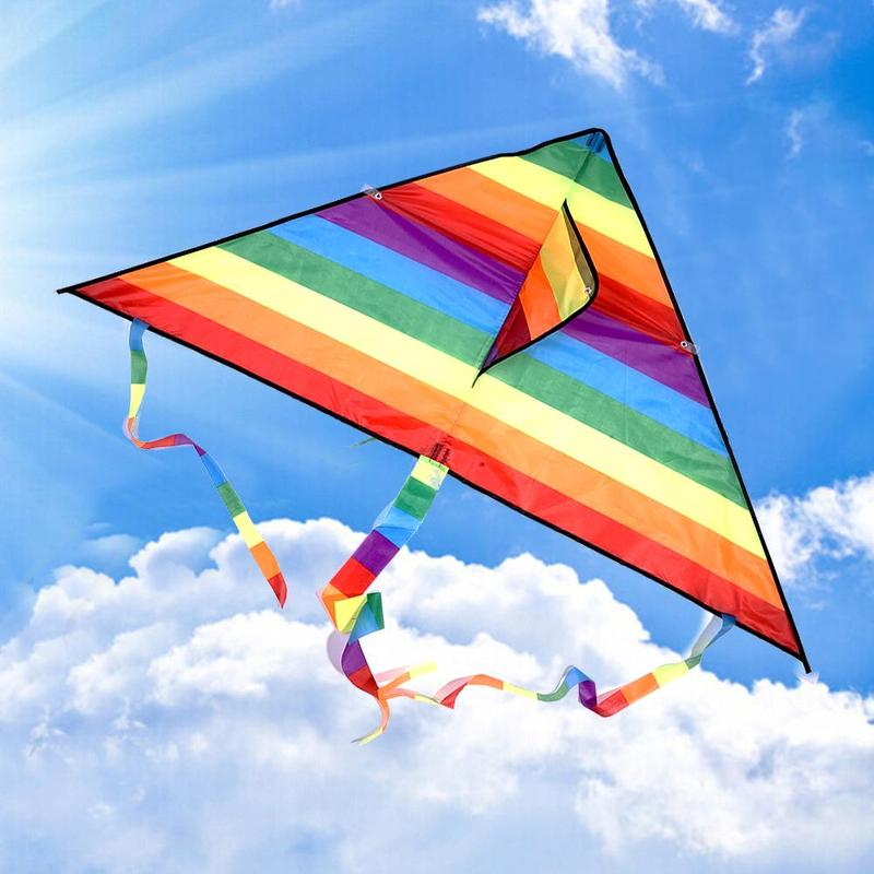 Colorful Rainbow Kite Long Tail Polyester Outdoor Kites Flying Toys For Children Kids Surf Kite With