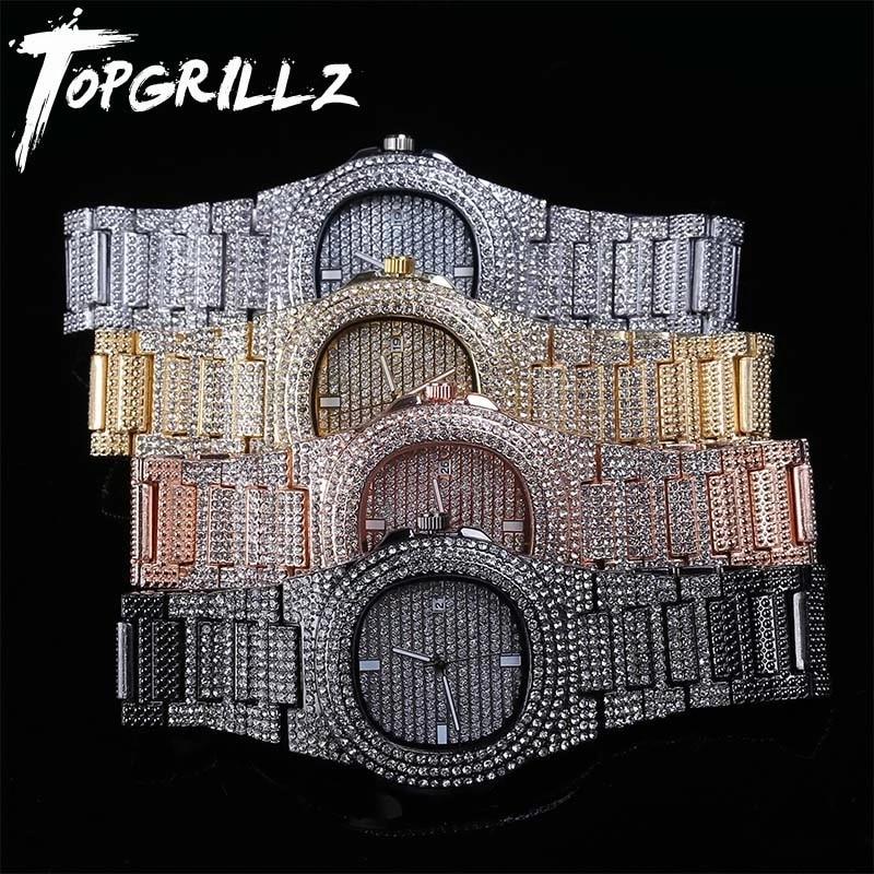 topgrillz marca iced out diamante relogio de quartzo ouro hip hop relogios com micropave