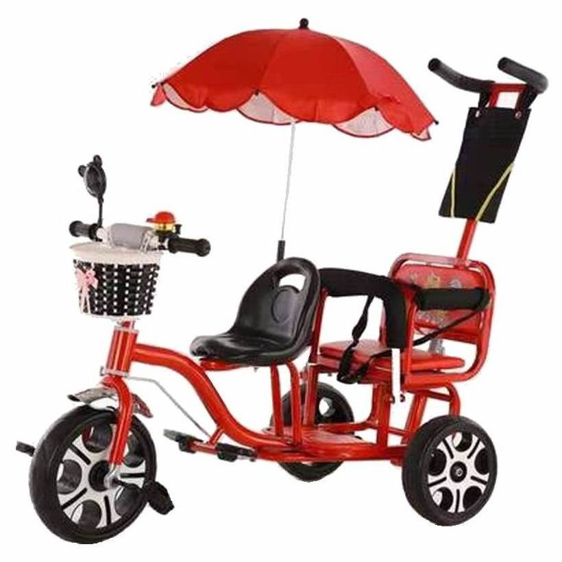 Children's bicycle twin bike baby new style double seat stroller large size boy girl two-seat travel shopping stroller
