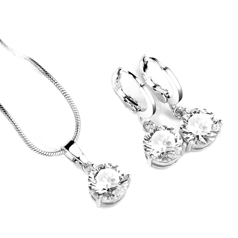 Juegos de joyas para mujer circón cúbico redondo collar de cobre hipoalergénico/pendientes conjuntos de joyas conjunto de collar