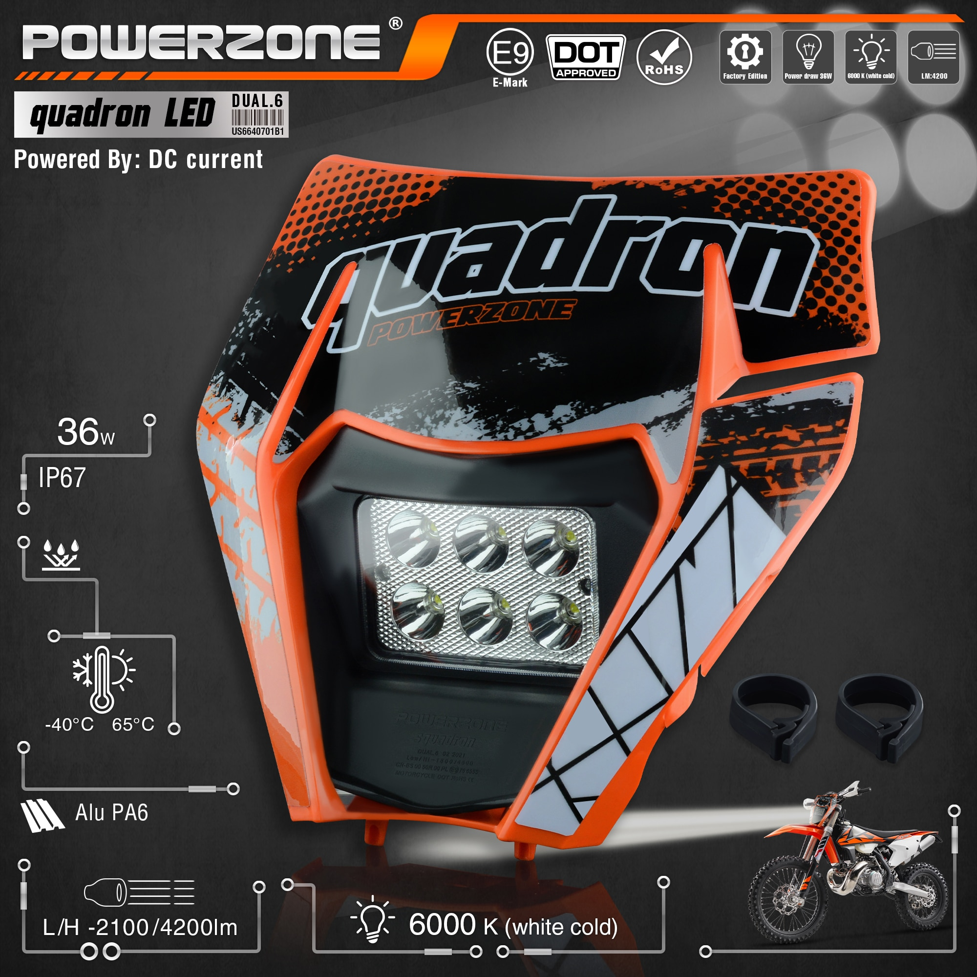 PowerZone Motorcycle LED Headlight Headlamp Head Light Supermoto Fairing For KTM EXC SXF MX Dirt Bike Enduro LED Headlight
