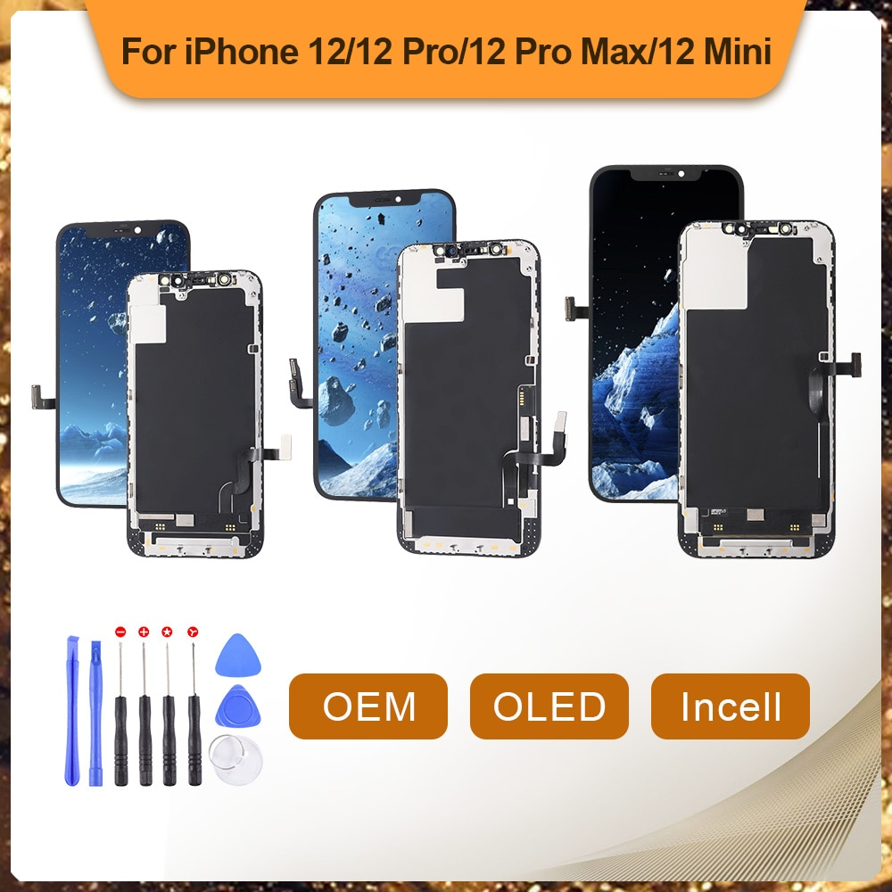 LCD آيفون 12 12Pro 12 برو ماكس 12 شاشة صغيرة OLED تعمل باللمس محول الأرقام الجمعية OEM عرض مع استبدال الإطار لا الميت بكسل