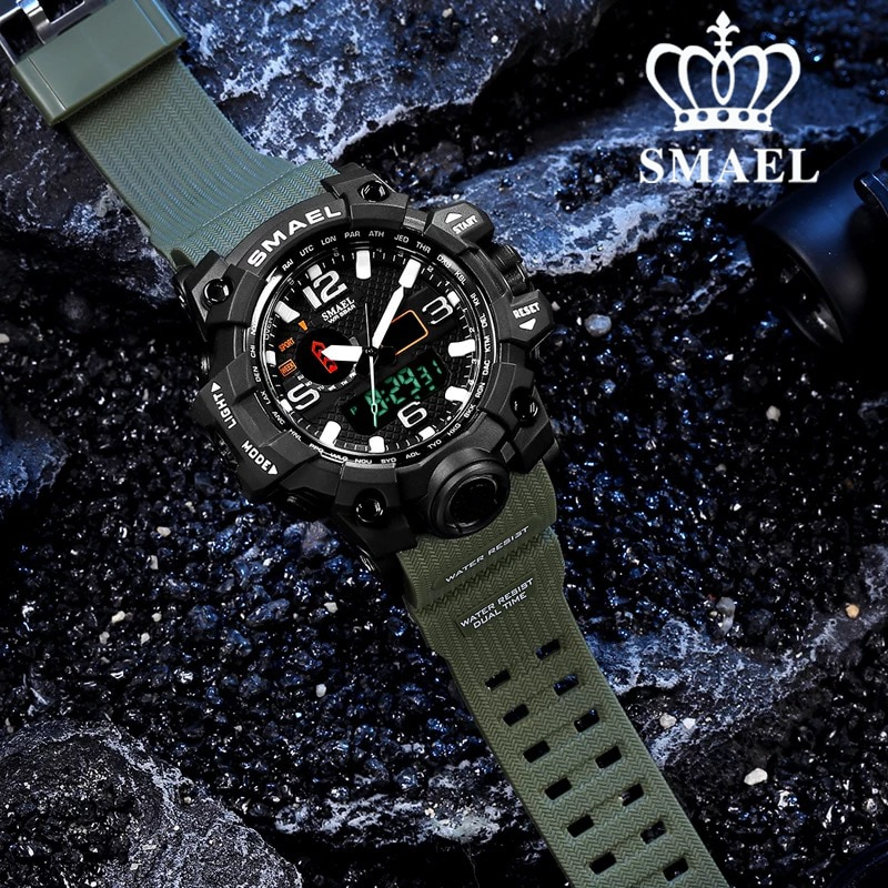 SMAEL Sport Watches Dual Display 2021 New Fashion Digtal Analog Clock Military Wrist Watch Waterproo