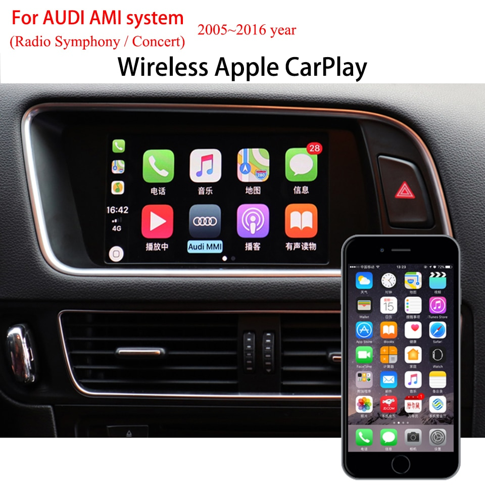 CarPlay inalámbrico, Android, enlace espejo automático para Audi Q5, Radio sinfónica 2008-2017, cámara de marcha atrás, Kit de Interfaz de vídeo para coche