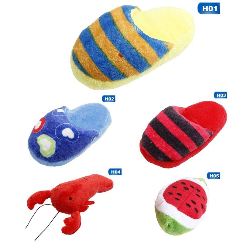 Encantador perro de peluche gato Sonido divertido chillones juguete chillón gatito cachorro masticar juego juguetes Animal mascota zapatilla en forma de producto