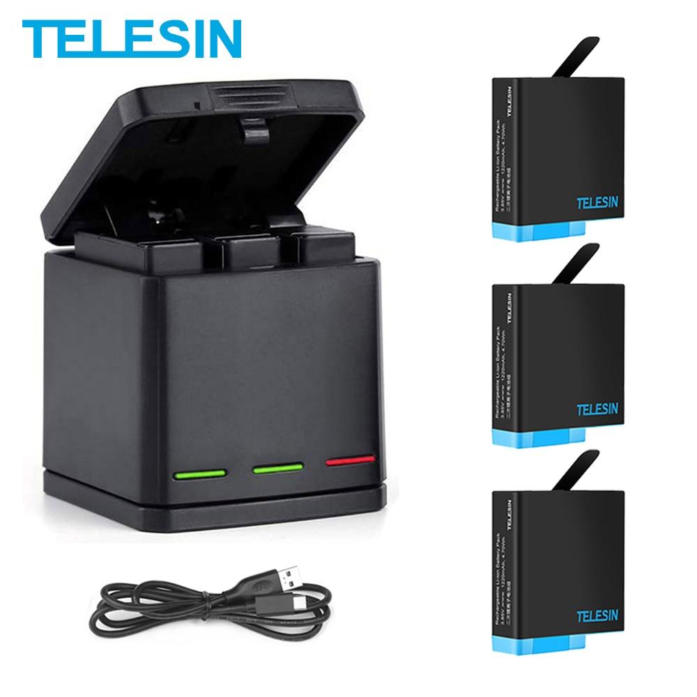 TELESIN 2 حزمة بطارية ل GoPro 8 الأسود 1220 مللي أمبير 3 طرق LED ضوء بطارية شاحن صندوق تخزين ل GoPro بطل 5 6 7 8 الأسود