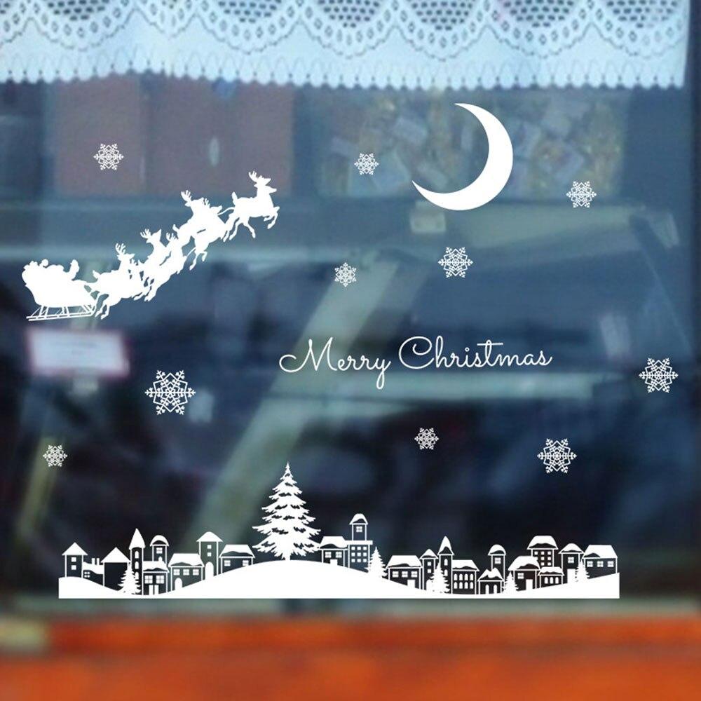 Janela de Vidro adesivo de parede Restaurante Shopping Decoração do natal Neve Removível Room Decor наклейки adesivos decoração do quarto 12