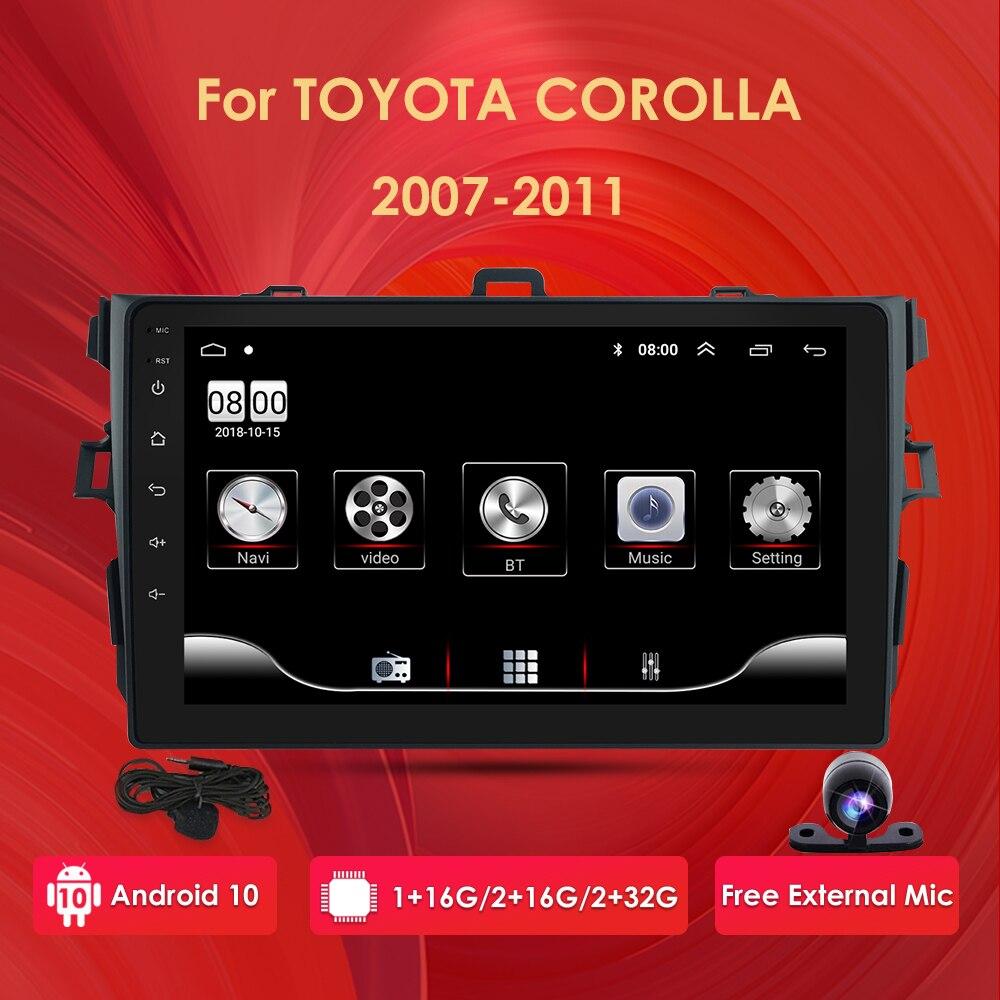 Reproductor Multimedia de vídeo y Radio para coche con Android 10, 2G + 32G, pantalla 2,5 D, 2 din, 4G de red para Toyota Corolla, wi-fi 2007-2011, Bluetooth, cámara USB DTV
