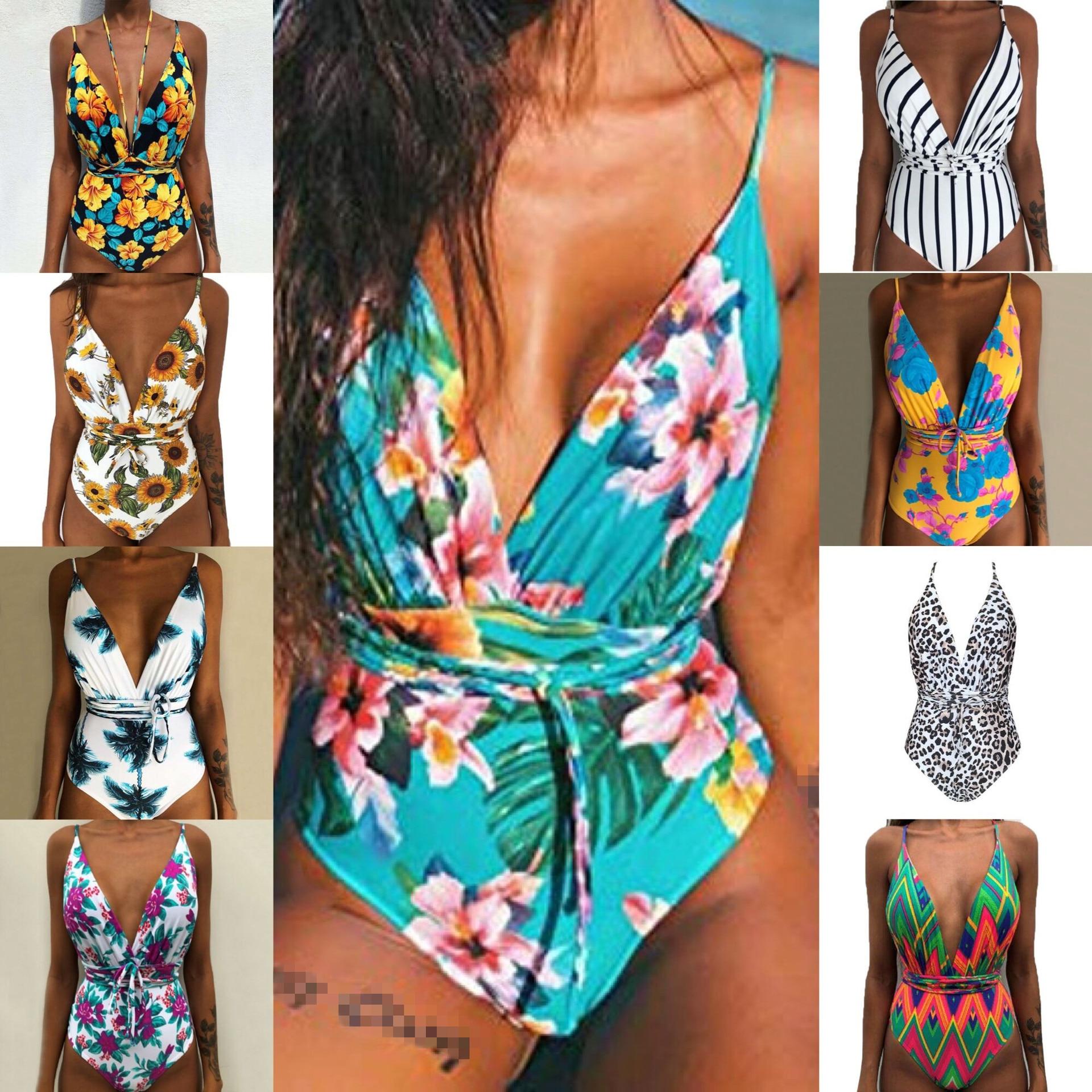 Bikini 2020 New Sexy One-Piece Swimsuit Floral Imprimir Bikini Set Cruzam Swimwear Maiô Terno de Natação Beachwear Brasileiro