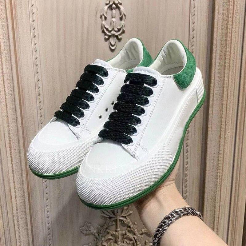 2021 جديد منصة مسطحة المرقعة أحذية رياضية المرأة اللون حجب الدانتيل يصل حذاء أبيض صغير سميكة القاع الربيع عشاق أحذية غير رسمية