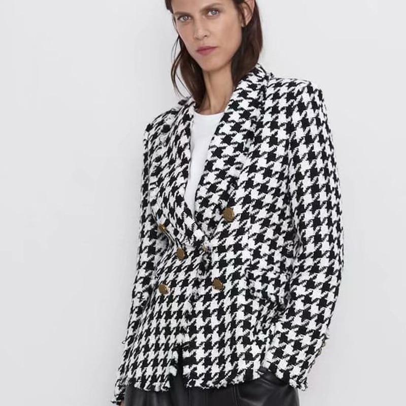 AGong Houndstooth Casual Blazers mujer moda doble pecho Plaid chaquetas mujeres elegantes trajes de manga larga mujeres señoras HT