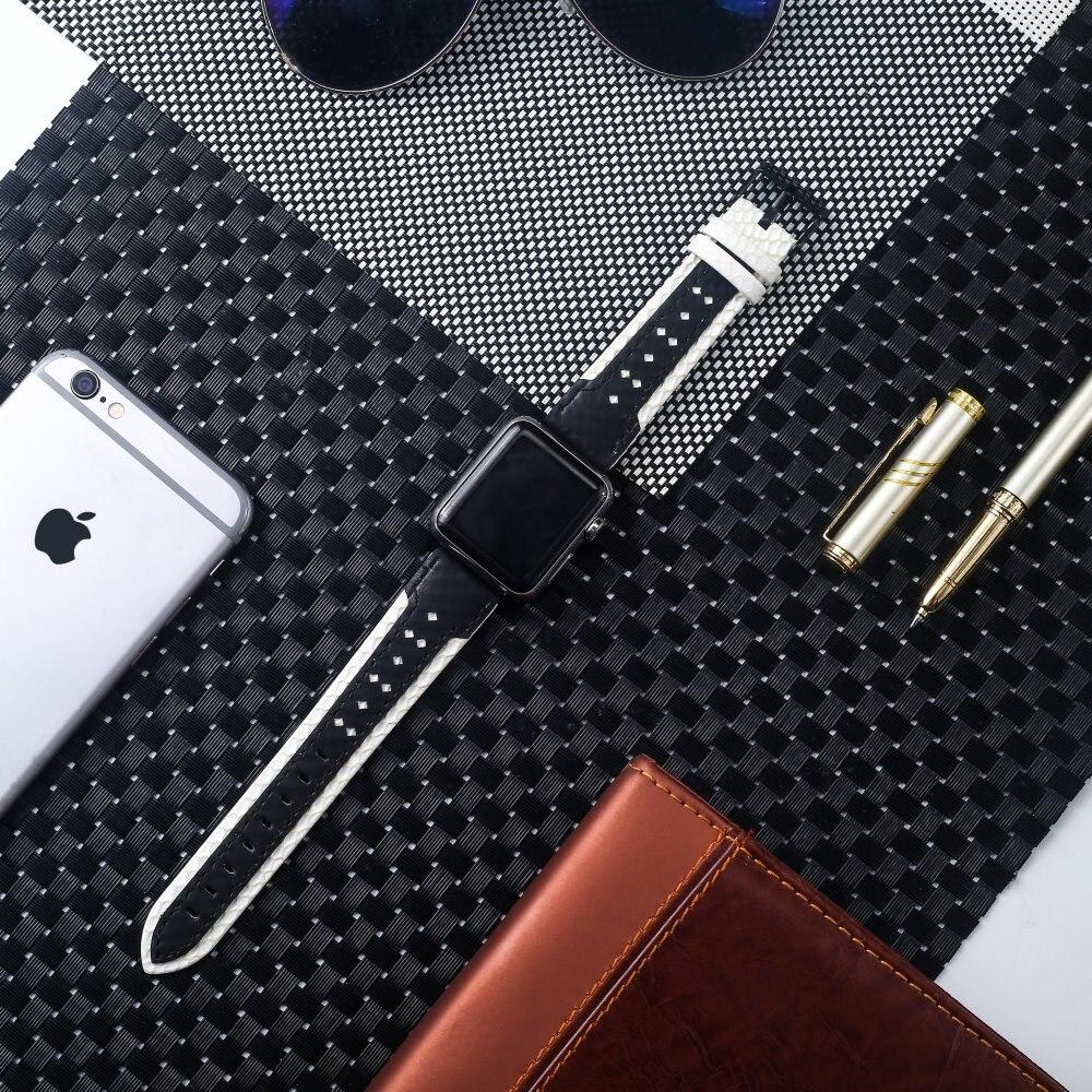 Cuero de moda correa para apple Watch serie 5 4 3 2 1 edición 38 40 42 44 MM correas accesorios para iwatch hebilla banda
