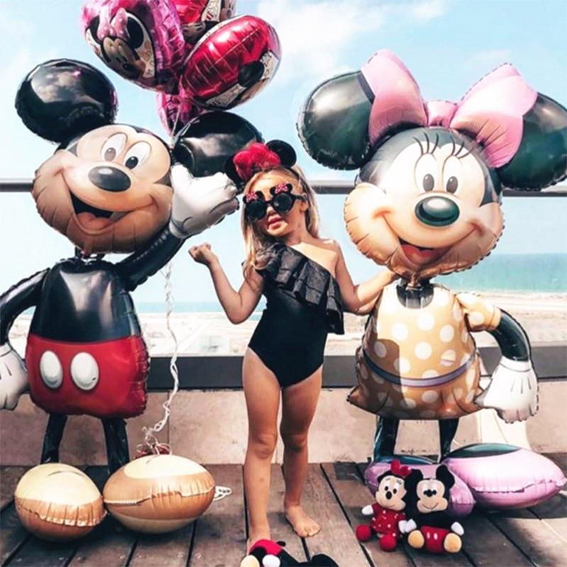 Globo de 112cm gigante Mickey Minnie Mouse globo de dibujos animados cumpleaños decoración de fiesta de cumpleaños niños Globos juguetes clásicos Globos
