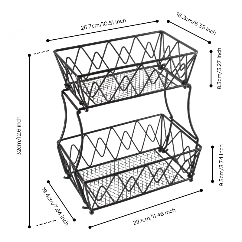 2 Tier Fruit Basket Detachable Store Vegetable Bread Display Stand Storage Holder Screws Free Design For Kitchen Bathroom