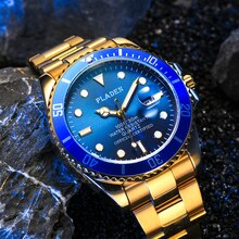 PLADEN Waterproof Gold Watch Men Diving Luminous Calendar Top Brand Luxury AAA Quartz Montre Stainle